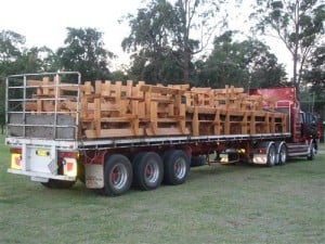 A Truckload of solid built Australian slab hardwood custom made bush benches on the way to a industrial customer.